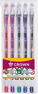 Набор гелевых ручек Crown Hi-Jell Color, 5 цветов