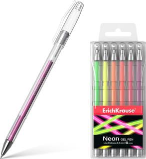 Набор гелевых ручек ErichKrause Neon, гелевая, 39000, мультик.