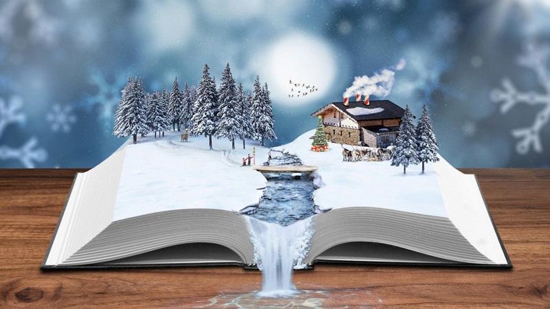 Зимние книги на полках магазинов Белый Кролик